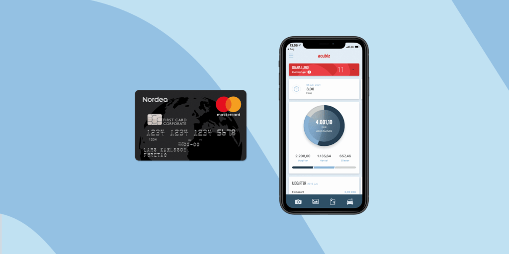 Nordea First Card company card and the mobile app Acubiz One