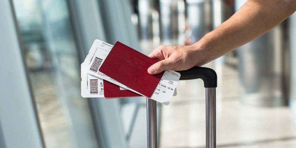 Flight tickets in an airport