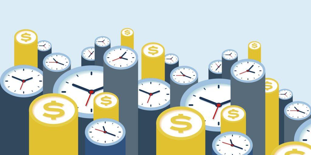 Graphic with clocks and money