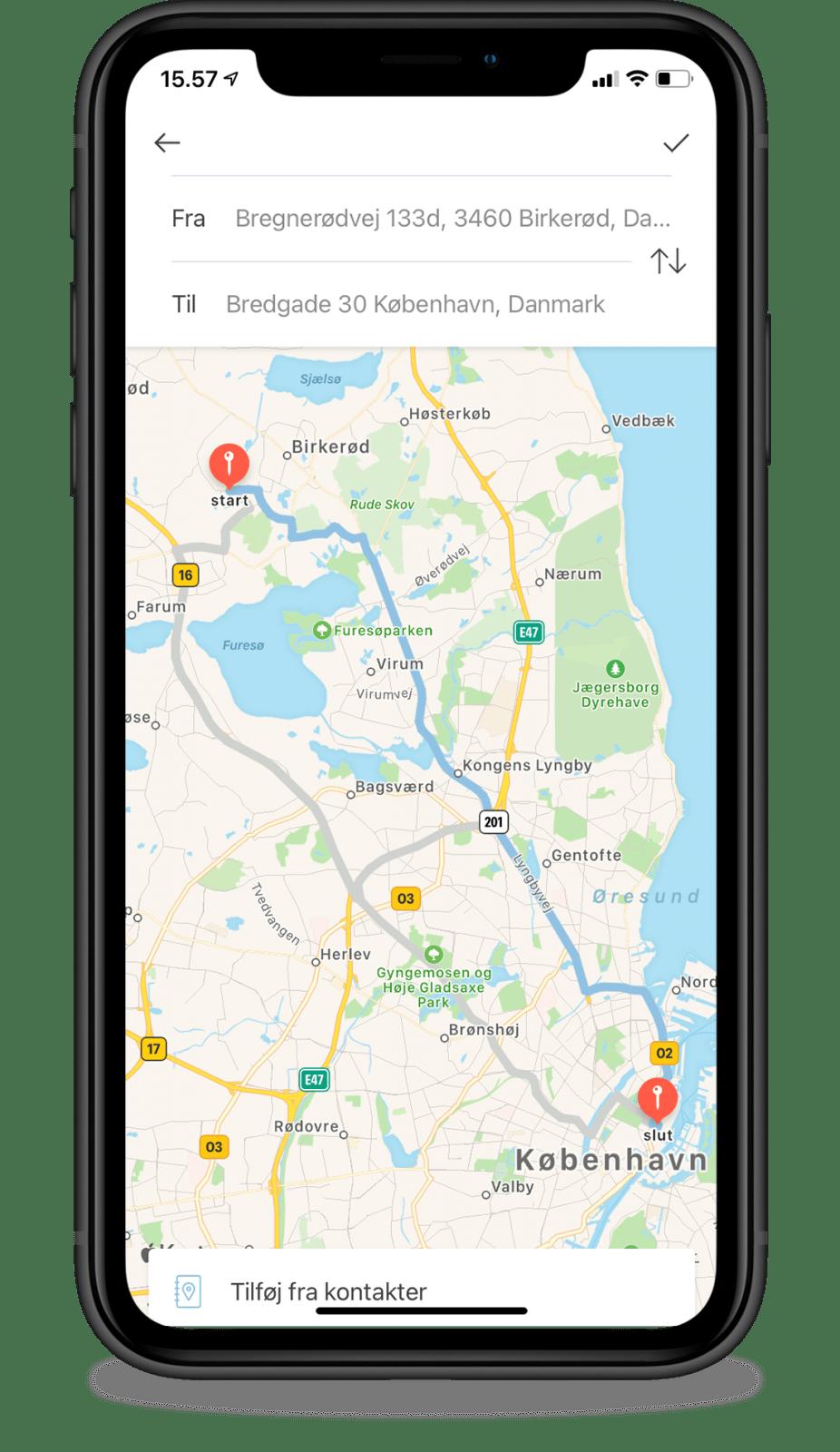 Manual mileage via Google Maps