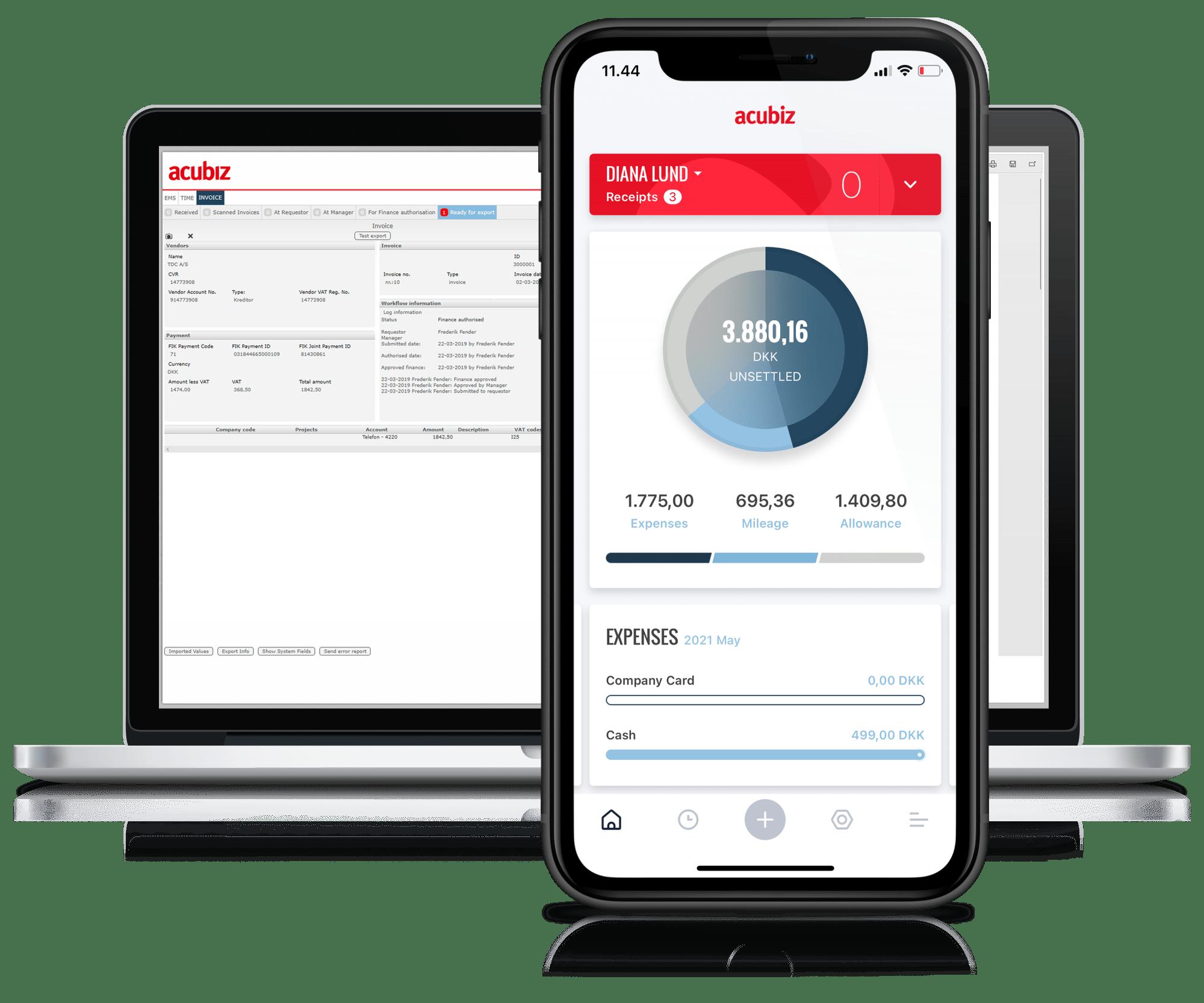 Expense management on smartphone and desktop